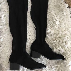 Steve Madden Black Suede Thigh High Heeled Boots